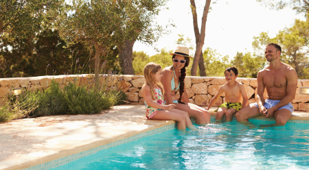 family at a pool
