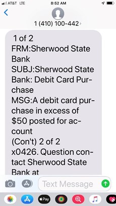 Sample text of sherwood state bank sending text message about over usage of debit card.