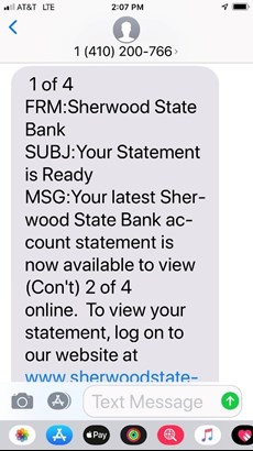 E-Statement sample from sherwood state bank indicating that your estatement is ready for viewing.
