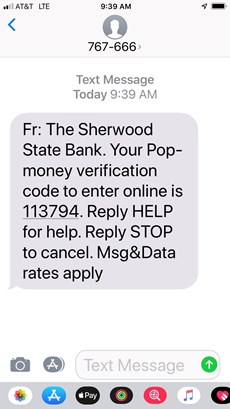 Text message from Pop-money verification code