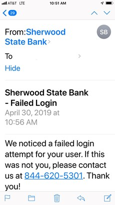 Sherwood State bank failed login notification