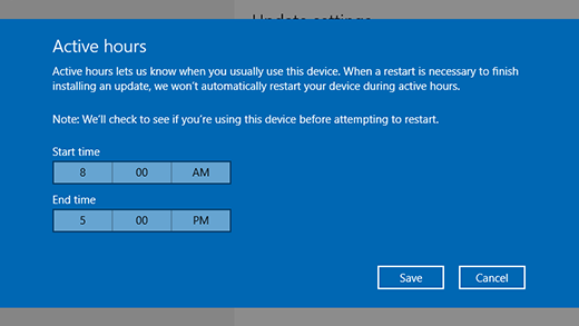 Windows 10 pop up screen indicating what time you usually use your windows device.