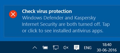 Windows check virus protection notice