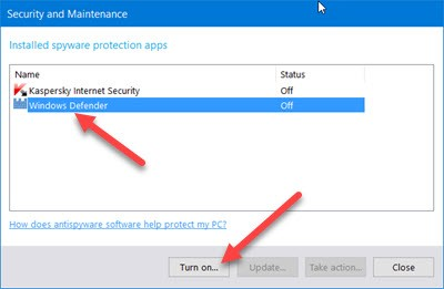 Security and Maintenannce window that show both windows defender and kaspersky turned off