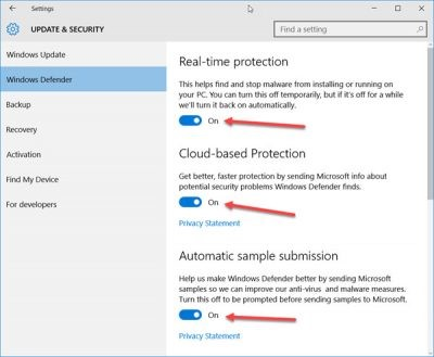 toggles for windows defender settings. Real-time protection, cloud-base protection, and Automatic sample submission toggles.