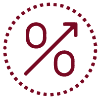 Red percent sign with arrow pointing up