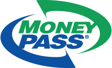 Money Pass logo with the word Money pass in green and blue