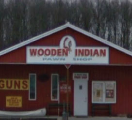 Wooden Indian store on an overcast day